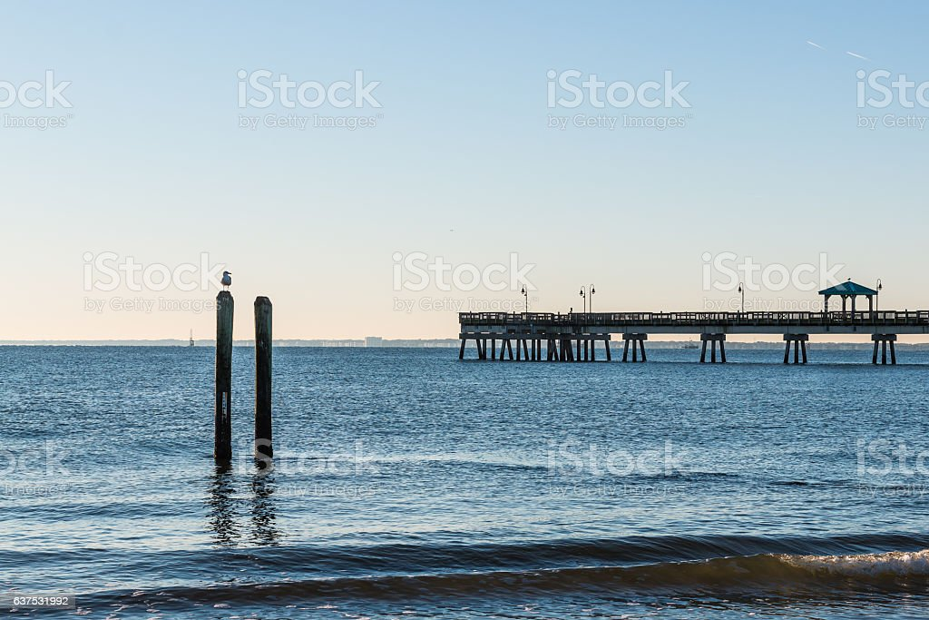 Fishing Pier at Buckroe Beach stock photo