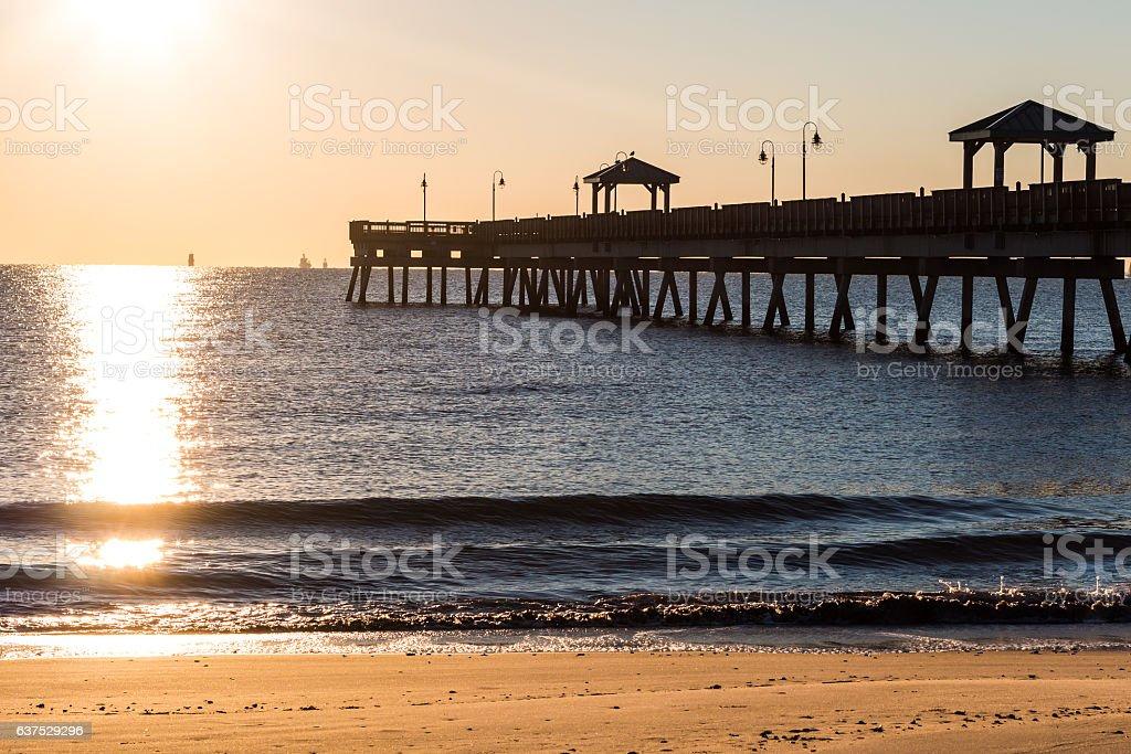 Fishing Pier at Sunrise, Buckroe Beach stock photo
