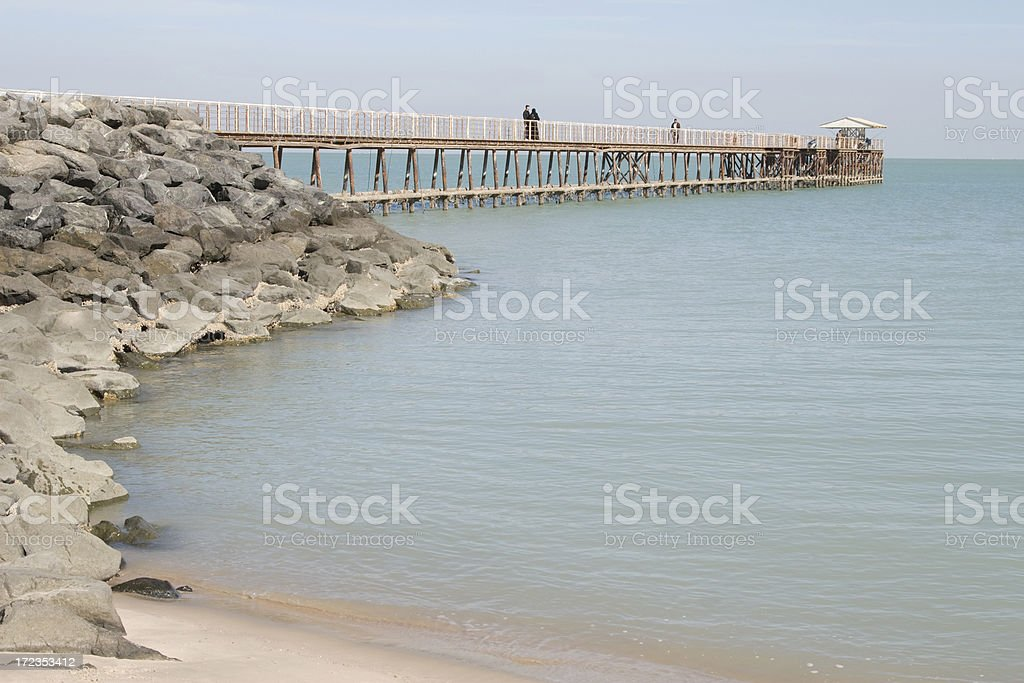 Fishing pier in Kuwait royalty-free stock photo