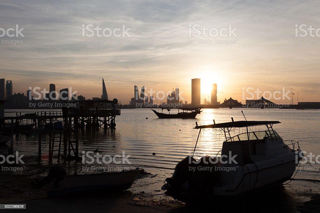 Fishing pier in Manama, Bahrain stock photo