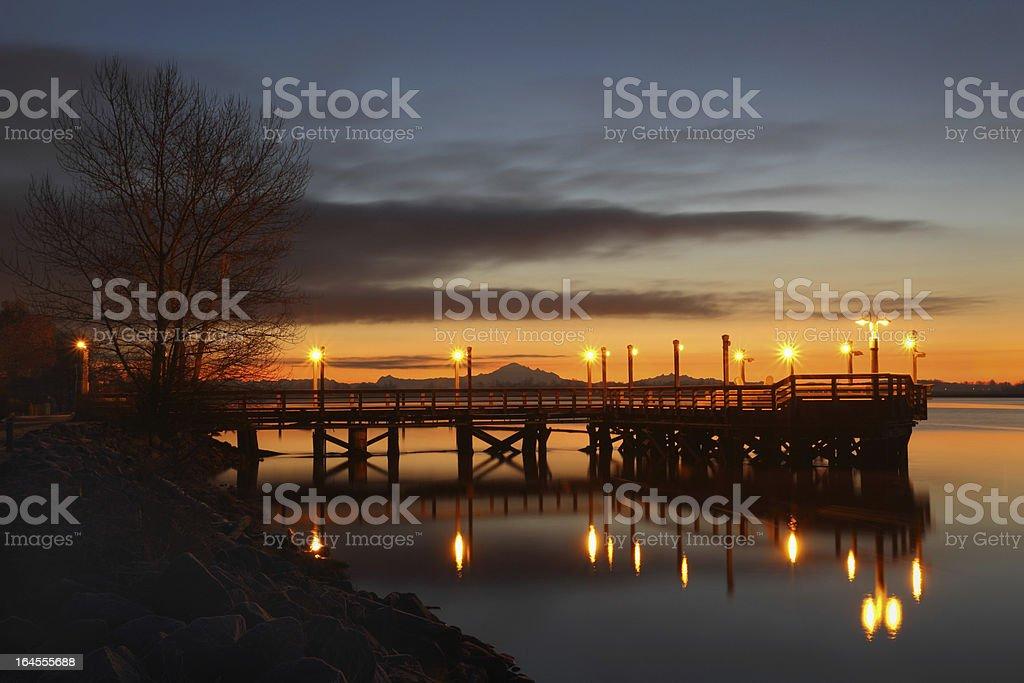 Fishing Pier Morning, Fraser River stock photo