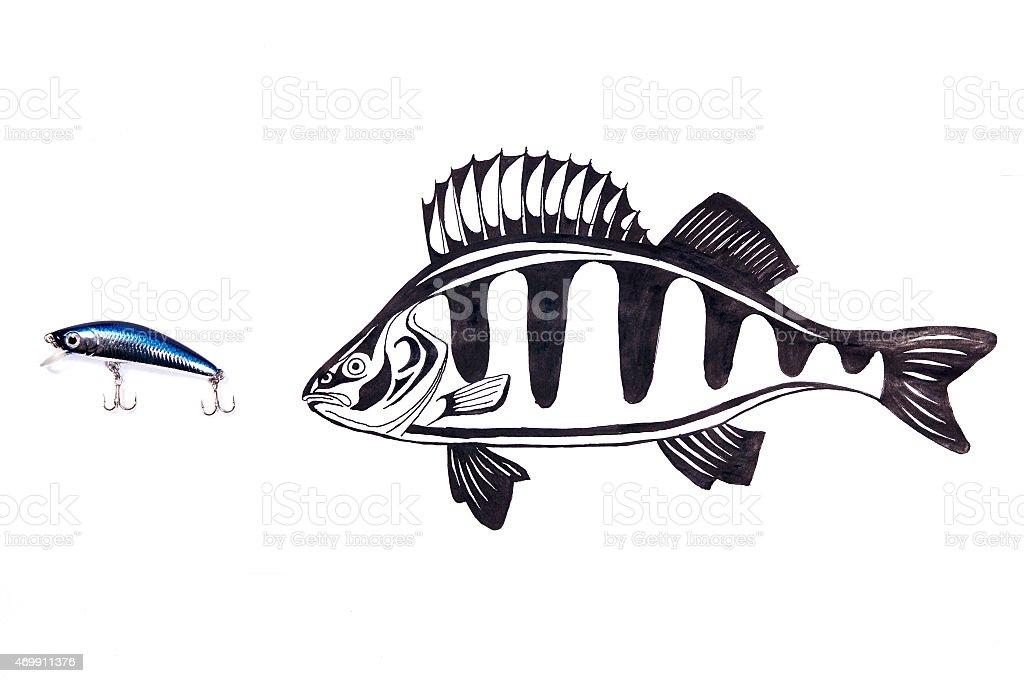 Plástico de cebo de pesca y de pescado de dibujo sobre el fondo blanco. foto de stock libre de derechos