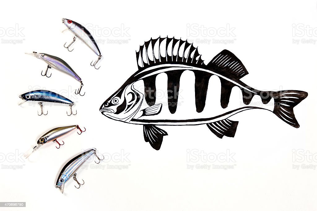 Fishing plastic baits with ink drawing fish. stock photo