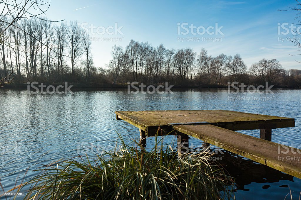 Fishing platform at Lake Born stock photo