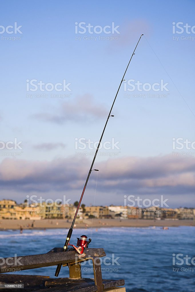Fishing Pole on a Pier in LA royalty-free stock photo