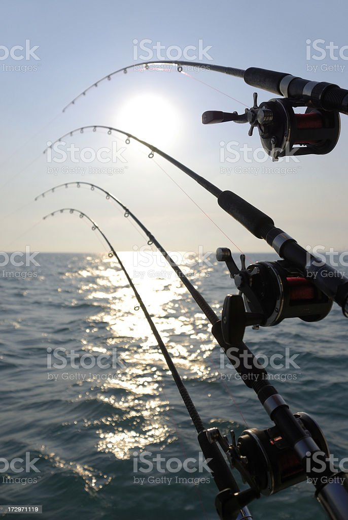 Fishing Poles and Reels Over Water with Sunrise / Sunset royalty-free stock photo