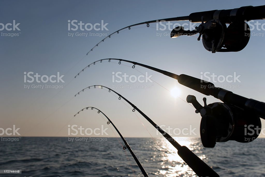 Fishing Poles and Sunrise / Sunset over Water royalty-free stock photo