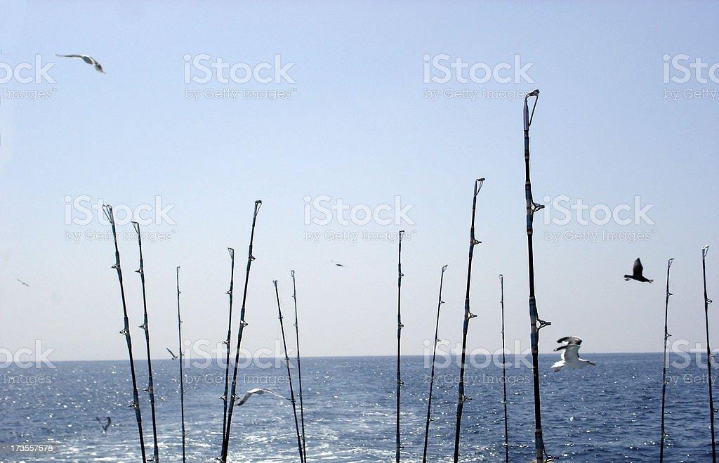 Fishing Poles at Sea royalty-free stock photo