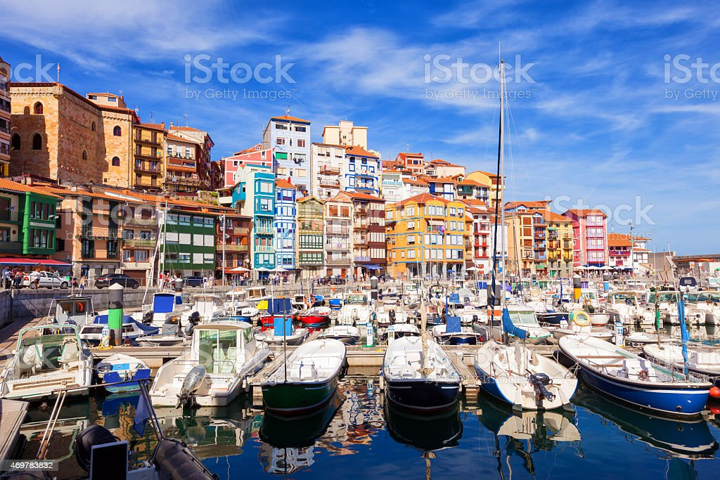 Fishing port of Bermeo on a sunny day stock photo