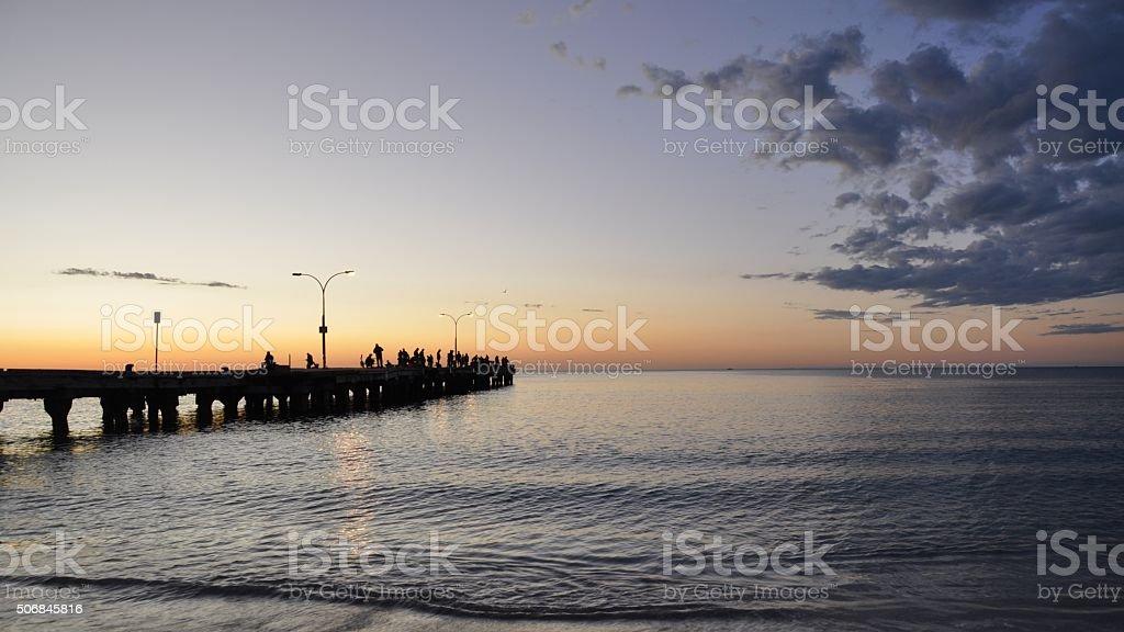 Fishing Recreation at Sunset stock photo