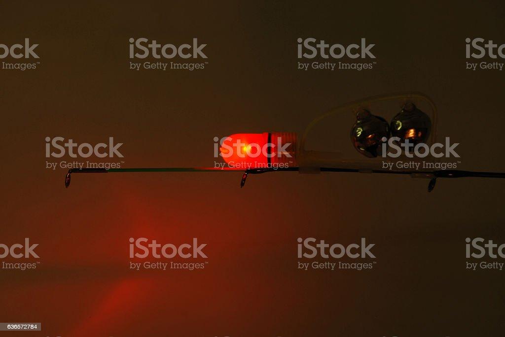 Fishing red LED power indicator stock photo