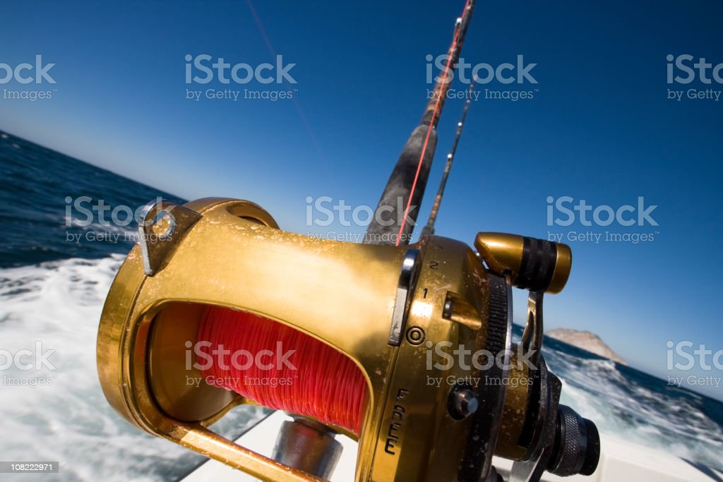 Fishing Reel on an Ocean Boat royalty-free stock photo