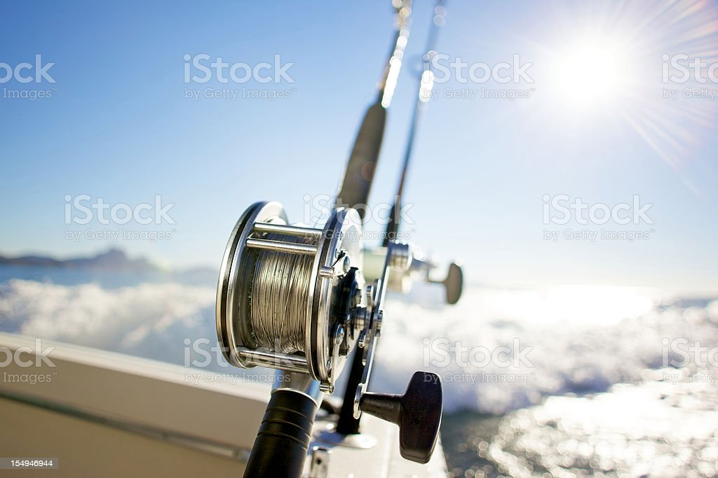 fishing reel pacific ocean sports stock photo