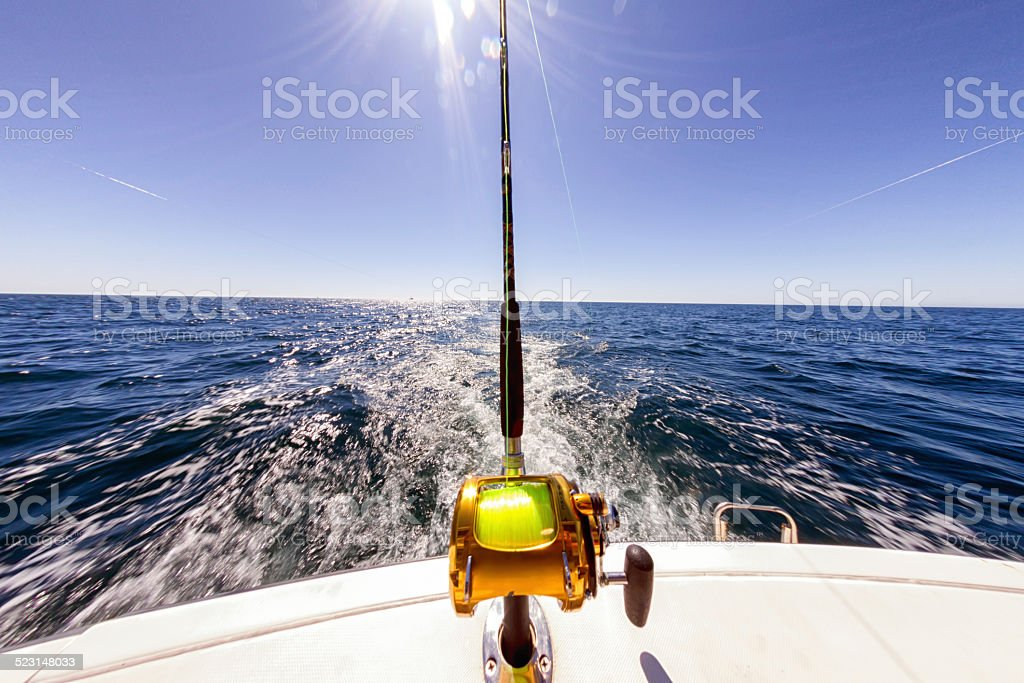 Fishing Reels on an Ocean Boat stock photo