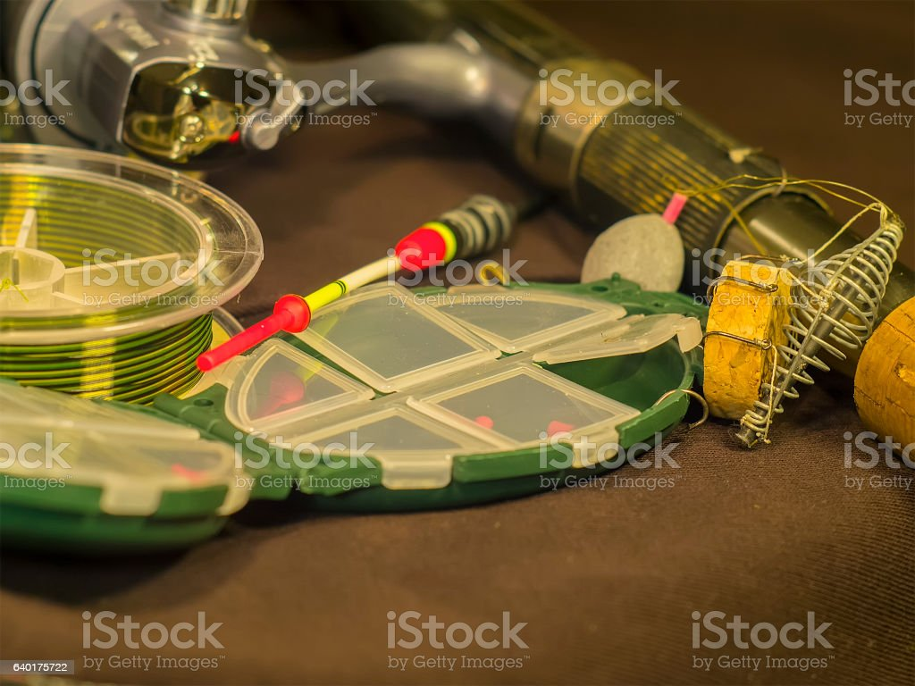 Fishing rod, line, float and sinker stock photo