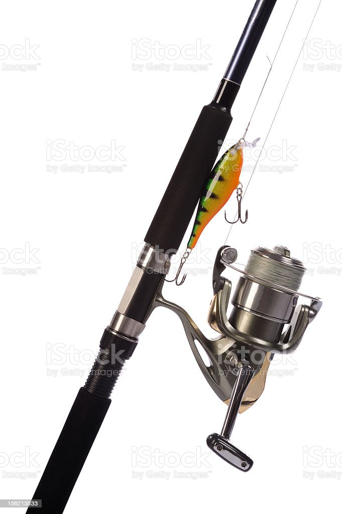 Fishing rod, reel with attached hard-bait stock photo