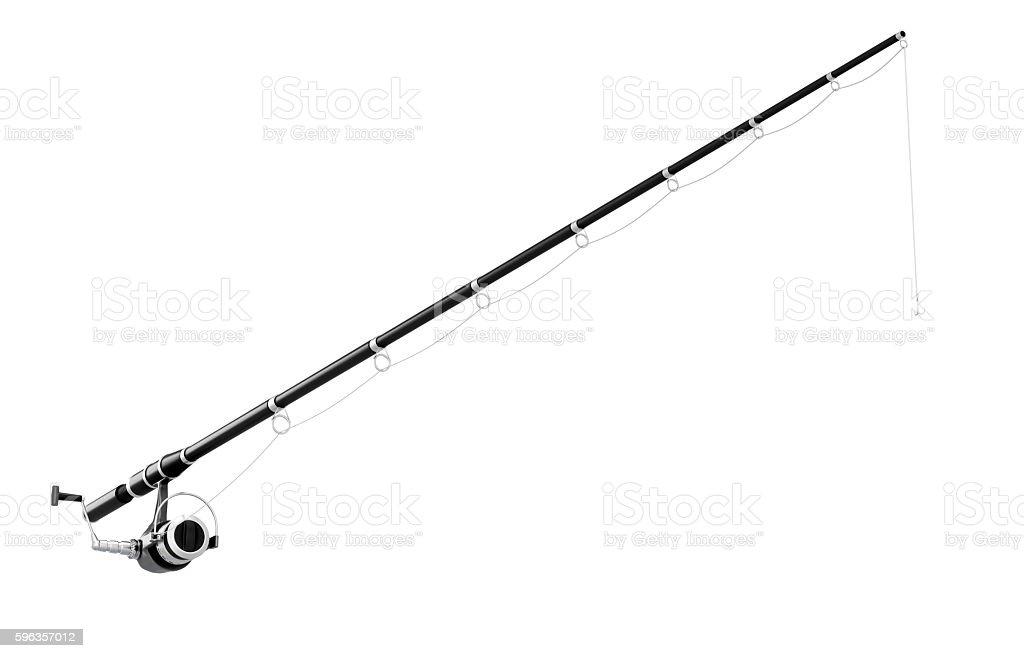 Fishing rod spinning isolated on white background. 3d illustrati stock photo