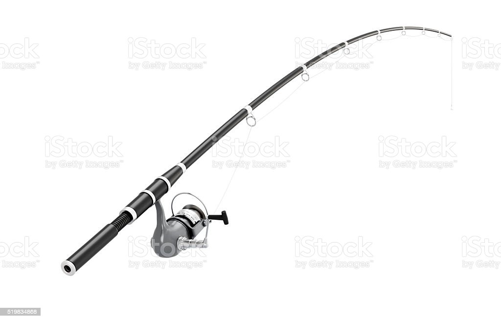 Fishing rod spinning on a white background. 3d illustration stock photo