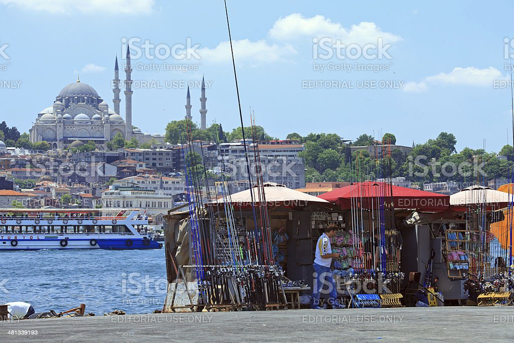 Fishing rod store in Istanbul royalty-free stock photo