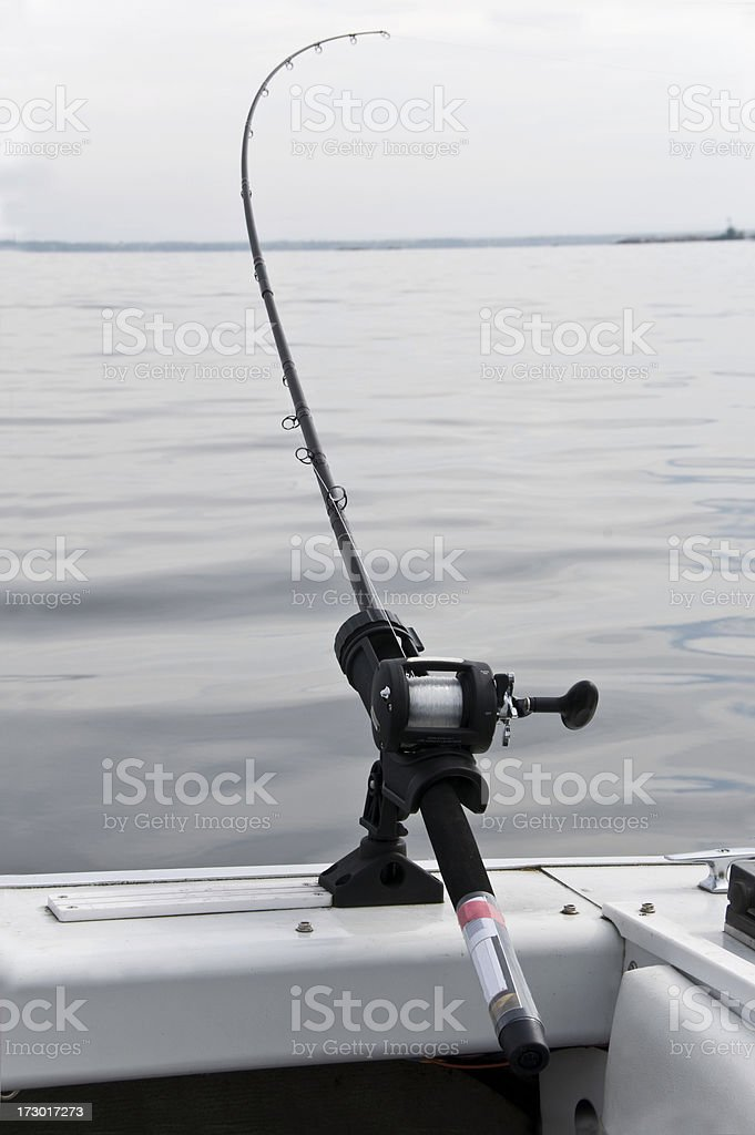 fishing rod trolling for Muskie stock photo