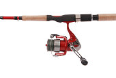 Fishing rod with a reel (Clipping path)
