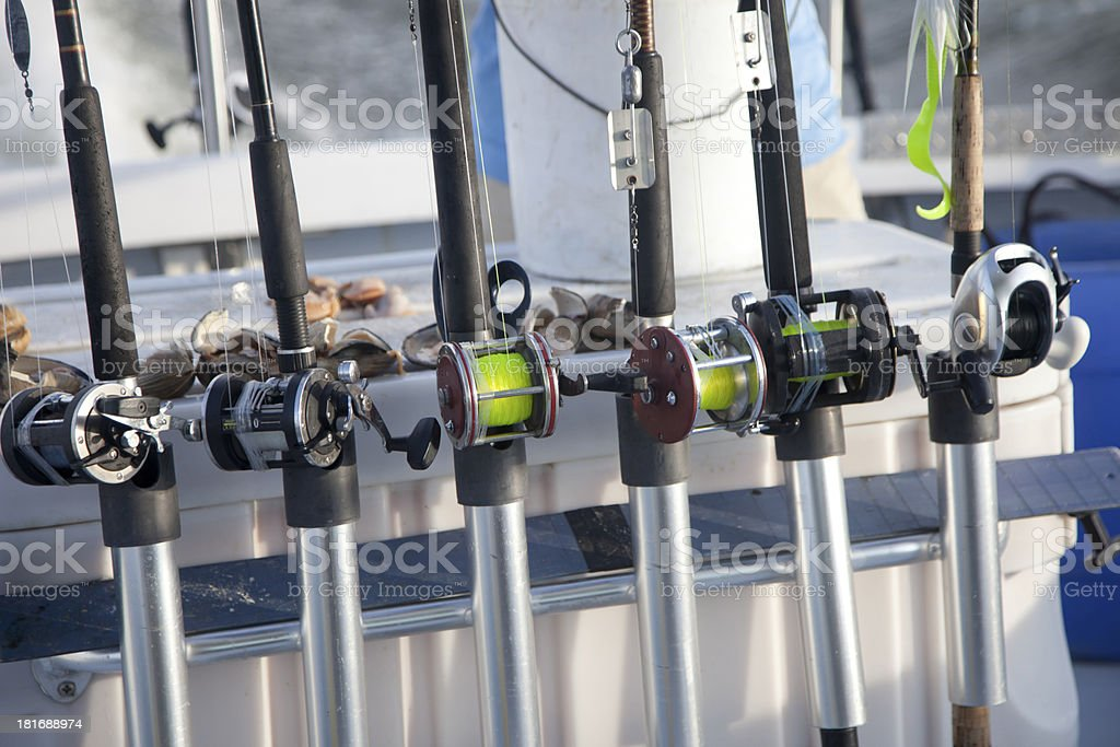 Fishing Rods and Bait on Charter Boat royalty-free stock photo