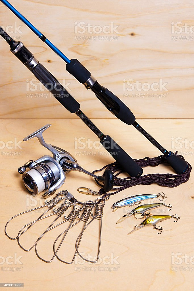 Fishing rods and reel with plastic baits. stock photo