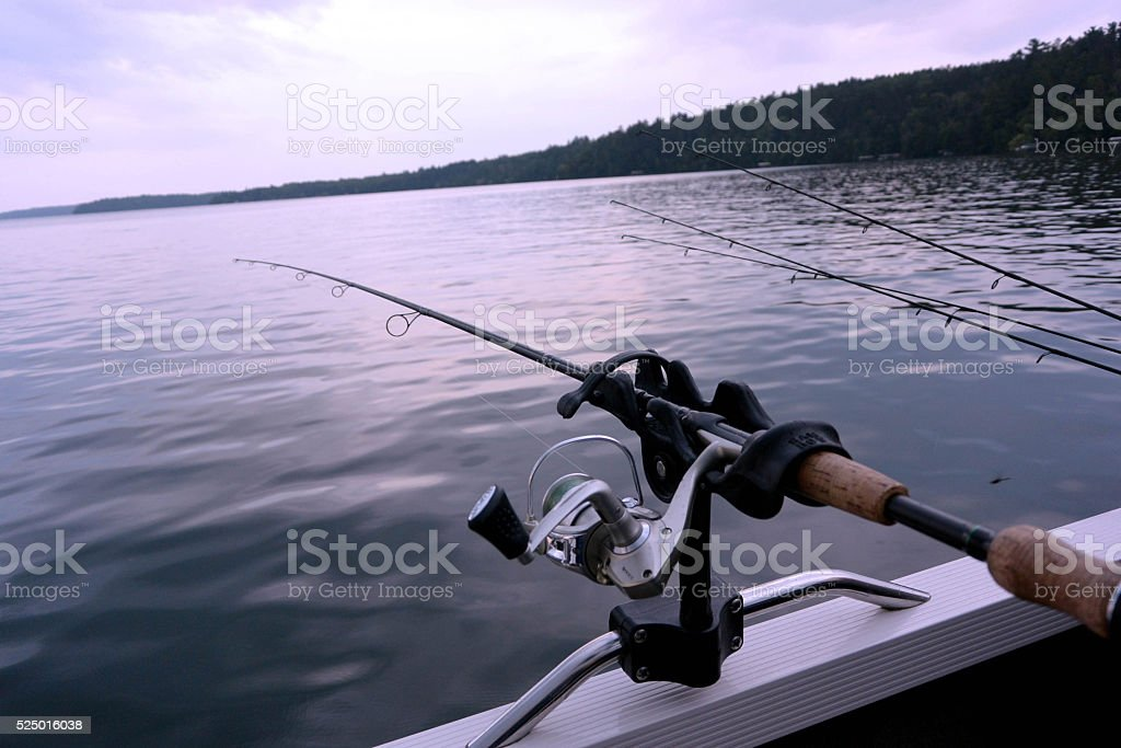 Fishing Rods on Boat stock photo