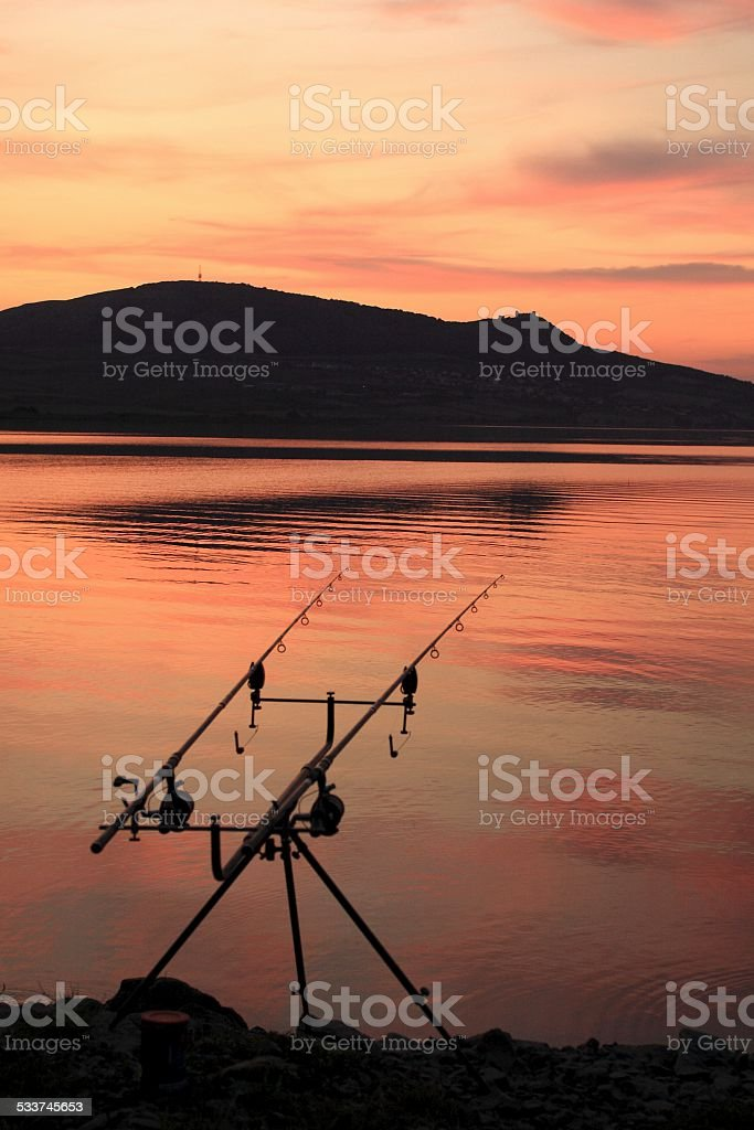 Fishing Rods under the Palava Hills stock photo