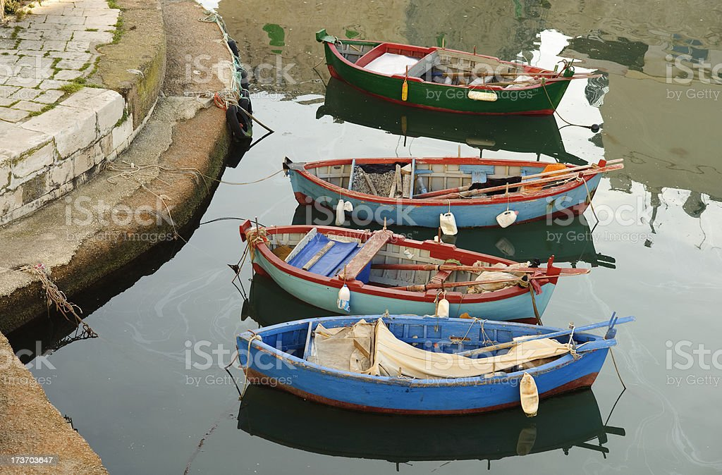 fishing rowboats in little port of Giovinazzo, Apulia (South Italy) stock photo