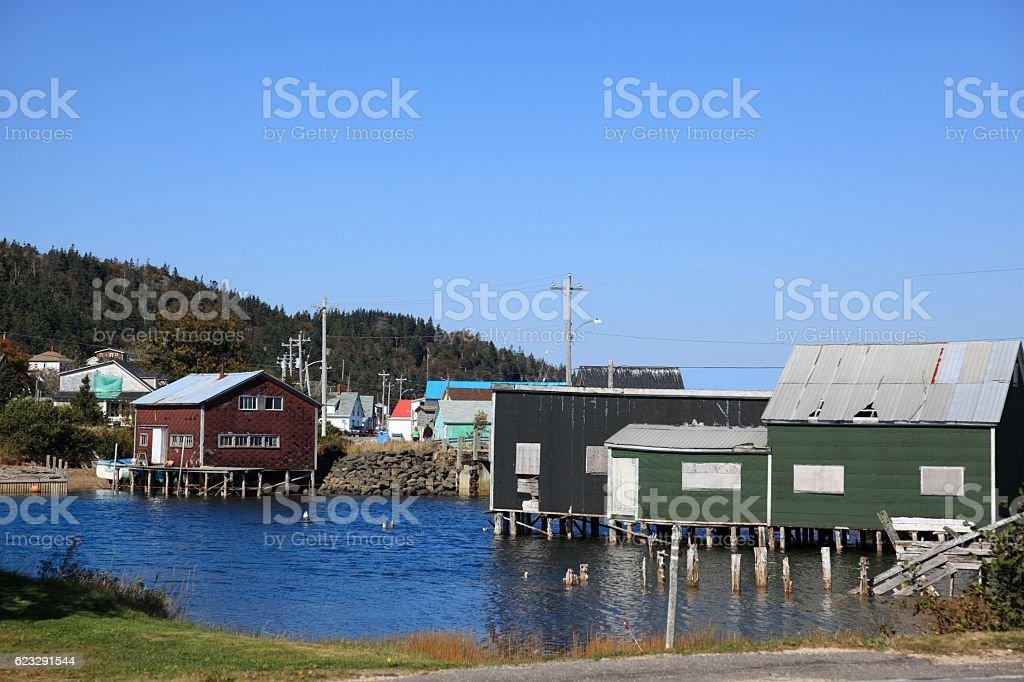 Fishing shacks on Long Island Nova Scotia, Canada. stock photo