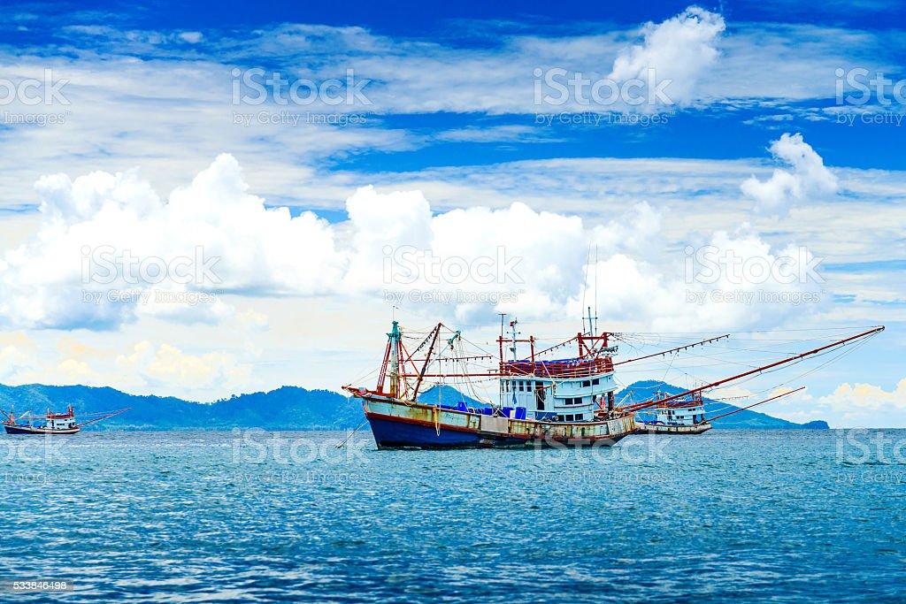 Fishing ship in Andaman sea Thailand stock photo