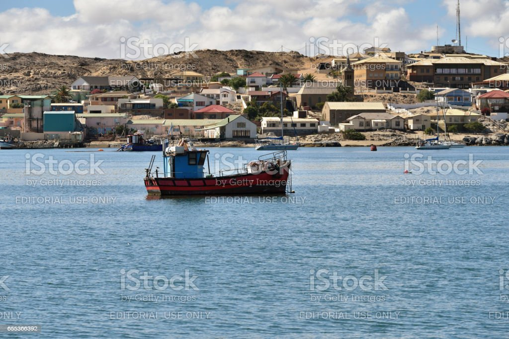 Fishing ship in Luderitz bay, Namibia stock photo
