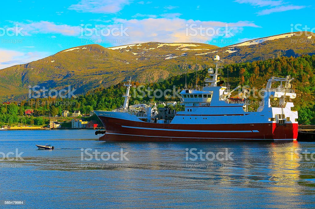 Fishing ships, Alesund dock harbor, Norway, North Sea, Scandinavia stock photo