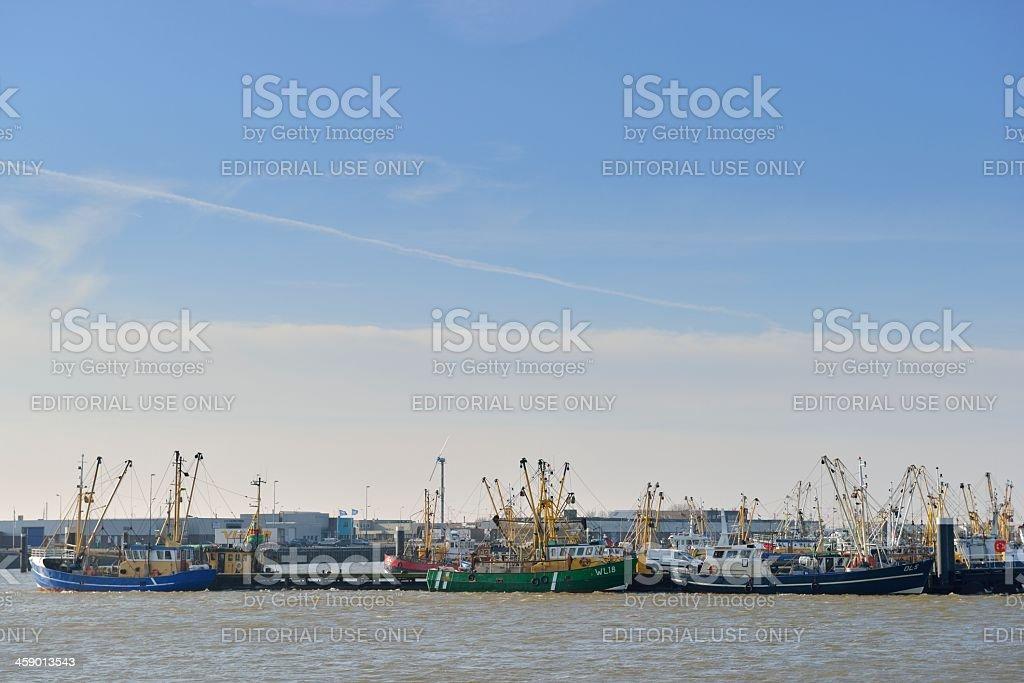 Fishing ships in port stock photo