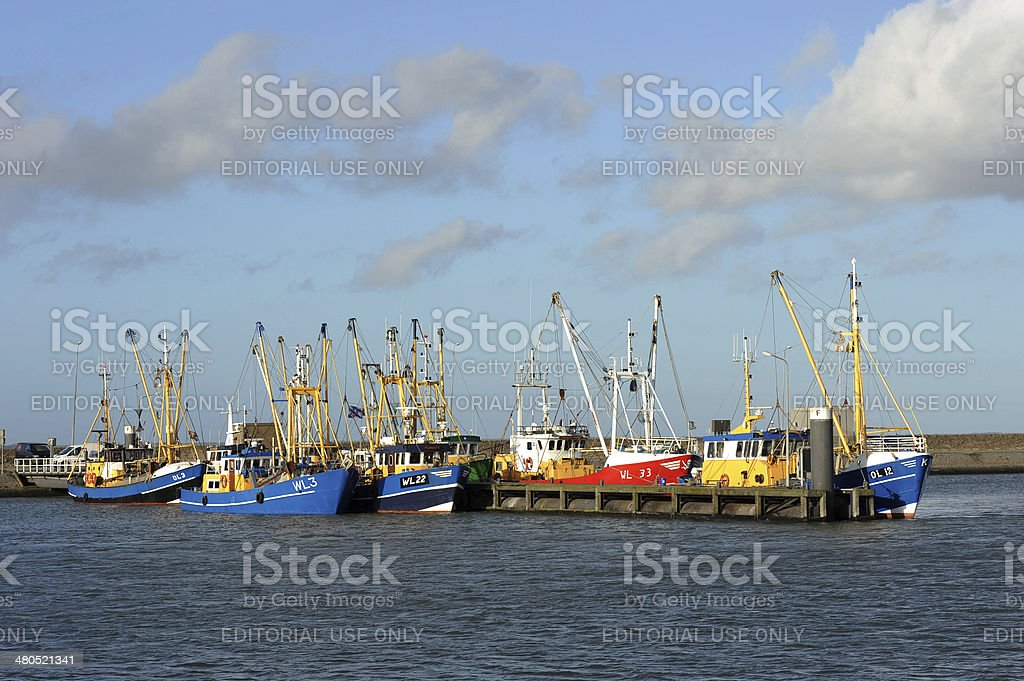 Fishing ships in the harbour of Lauwersoog stock photo