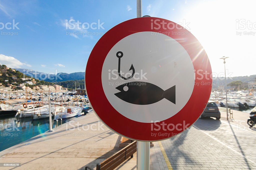 Fishing sign on Soller, Mallorca stock photo