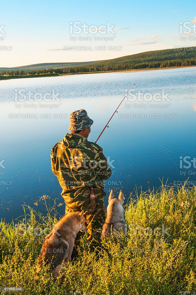 Fishing spinning on the lake Dvargalaak. stock photo