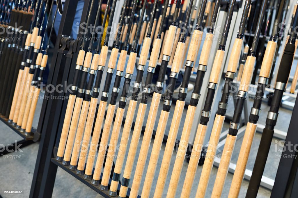 Fishing spinnings in store stock photo