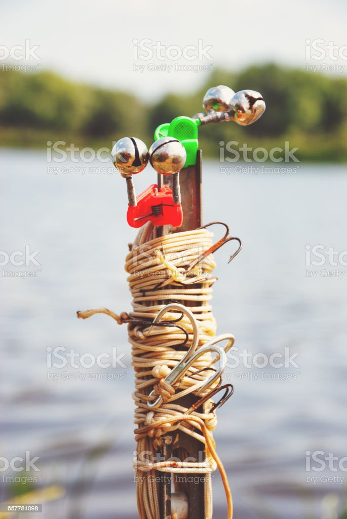 Fishing Supplies in summer on the bank stock photo