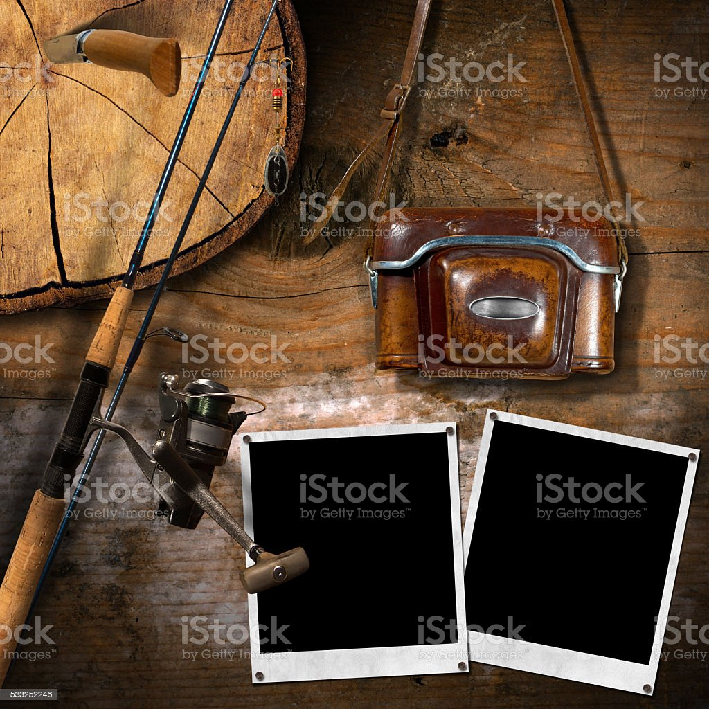 Fishing Tackle and Old Vintage Camera stock photo