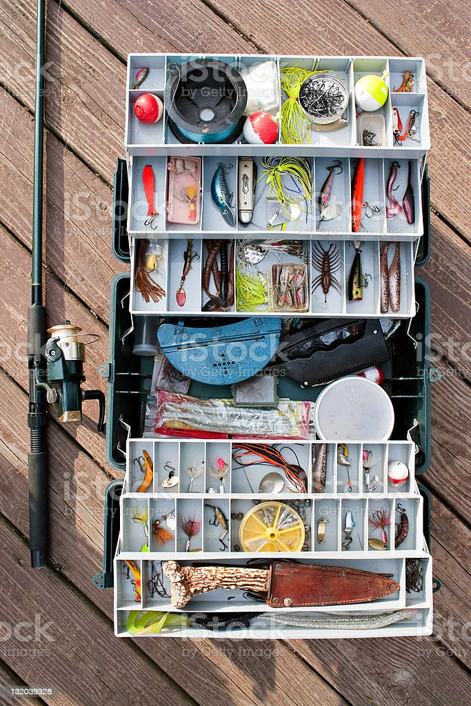 Fishing Tackle Box and Gear stock photo
