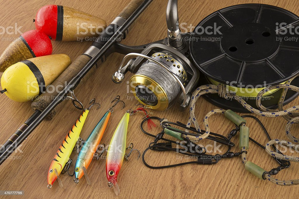 Fishing tackle stock photo