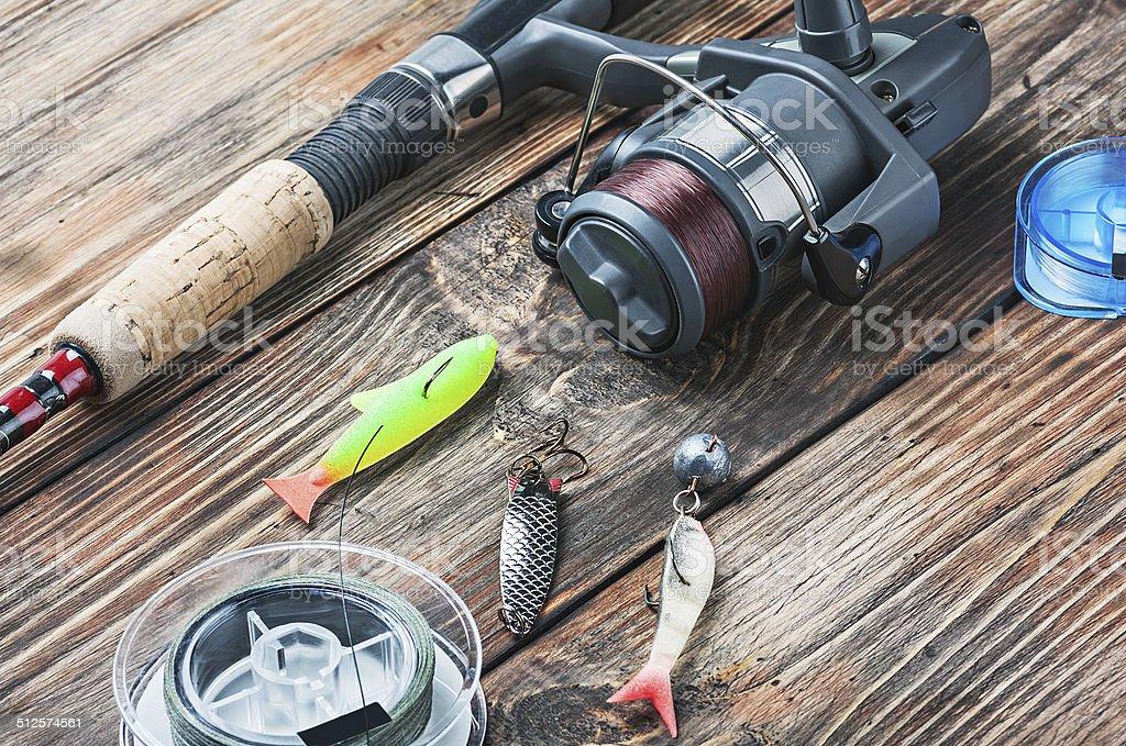 fishing tackle stock photo