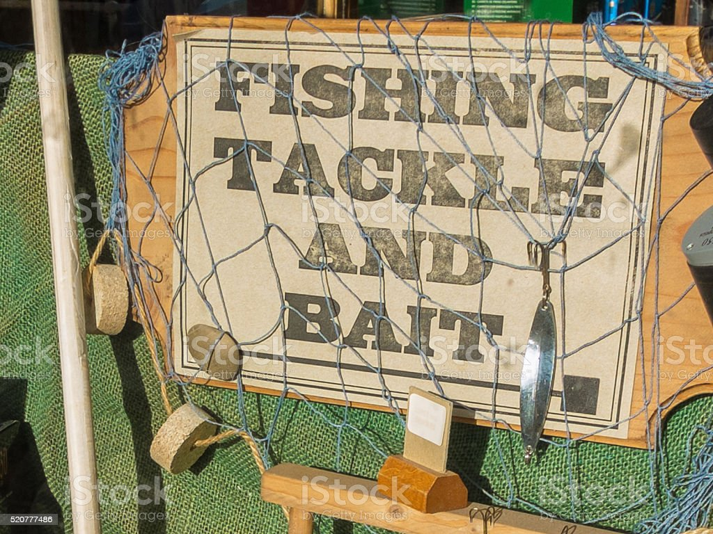 fishing tackle shop sign stock photo