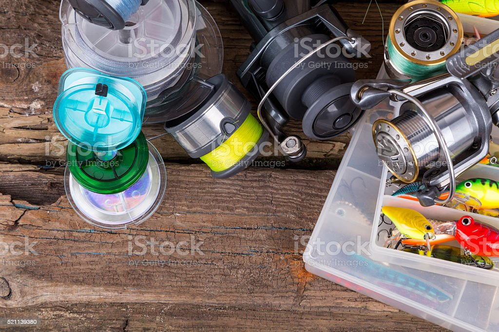 fishing tackles on background from dry plant stock photo