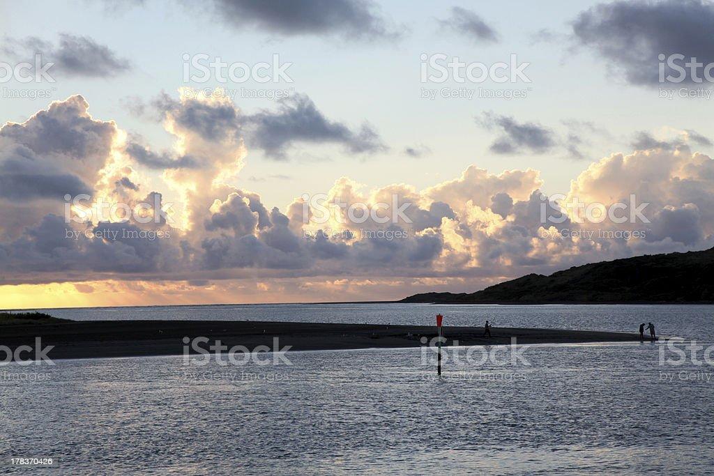 Fishing the estuary at Raglan stock photo