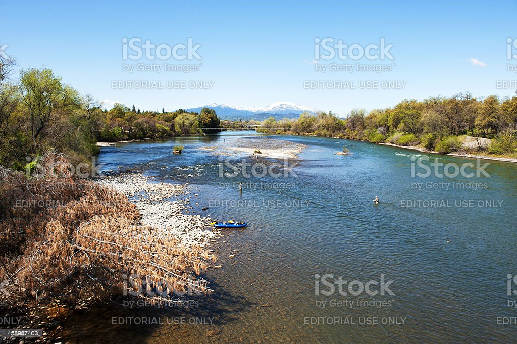 Fishing the Sacramento River stock photo