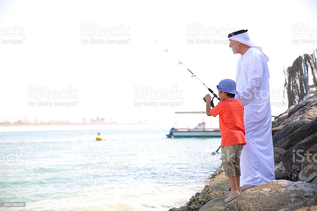 Fishing togethe stock photo