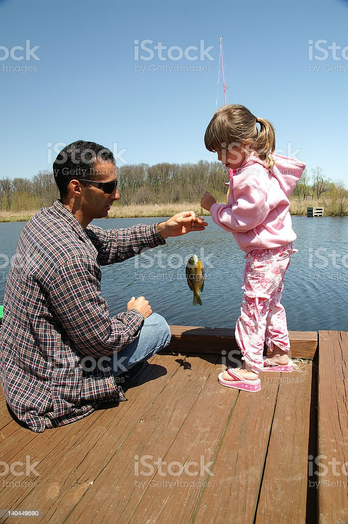 Fishing together stock photo